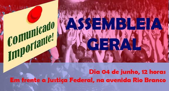 Direção do Sisejufe convoca Assembleia Geral para o dia 04 de junho