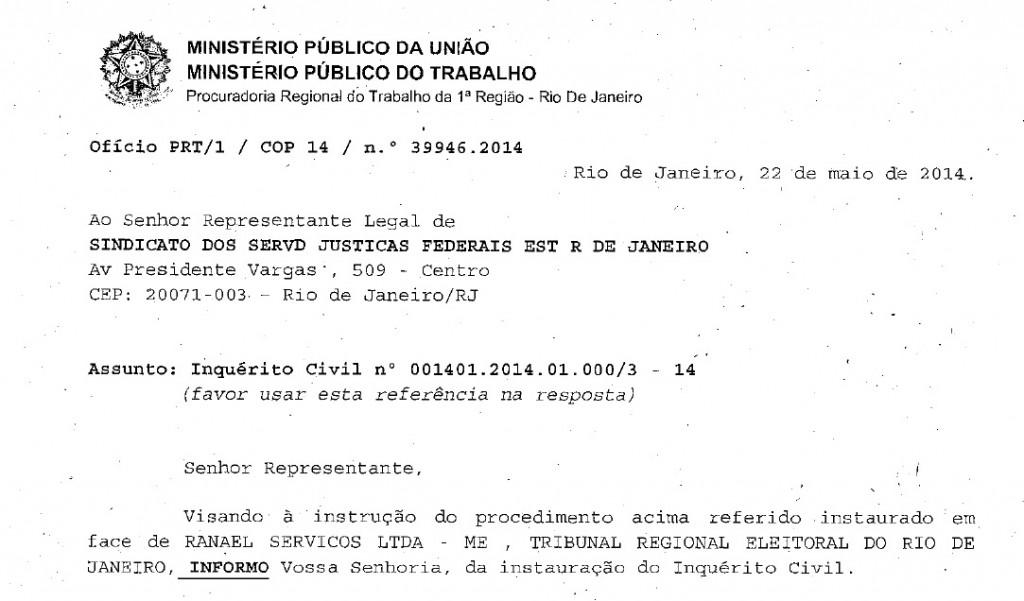 Em ofício enviado ao sisejufe, o MTF informa que abriu inquérito civil público para tratar do caso