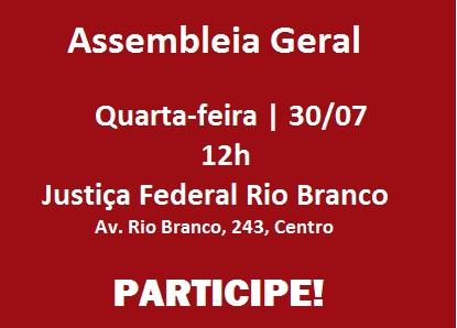 Sisejufe convoca Assembleia Geral nesta quarta, 30 de julho. Participe!