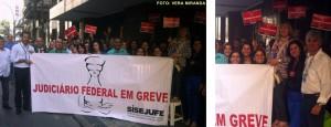 Categoria no TRF2 inicia o dia com mobilização em frente ao tribunal, na rua do Acre