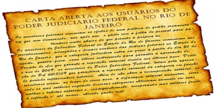 Carta aberta aos usuários do Poder Judiciário Federal no estado do Rio de Janeiro