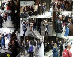 Trabalhadores do TRF2 mesmo sob forte chuva e intenso frio, não arredaram o pé do ato público durante a paralisação