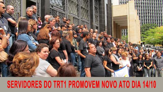 Servidores do TRT promovem novo ato na próxima terça-feira, dia 14/10, às 12h30, contra extinção de 256 FCs