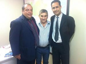 A partir da esquerda: o representante de base Roberto Ponciano, o ministro Gilberto Carvalho e o diretor-presidente do Sisejufe, Valter Nogueira Alves