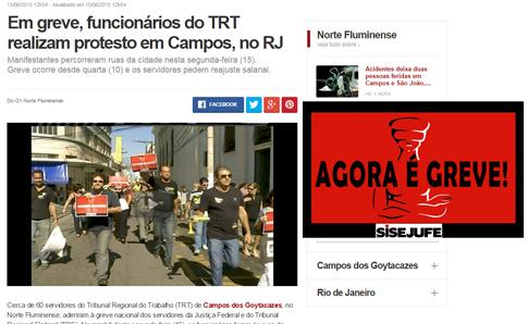 G1- Em greve, funcionários do TRT realizam protesto em Campos, no RJ