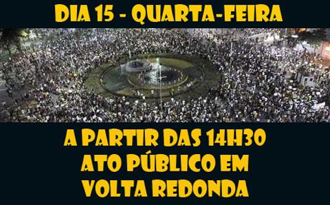 Servidores do Judiciário Federal fazem ato em Volta Redonda, nesta quarta (15/07), às 14h30