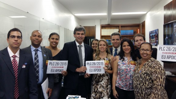 Diretores do Sisejufe articulam apoio de parlamentares ao PLC 28/15 e participam, com servidores, de ato nacional unificado em Brasília