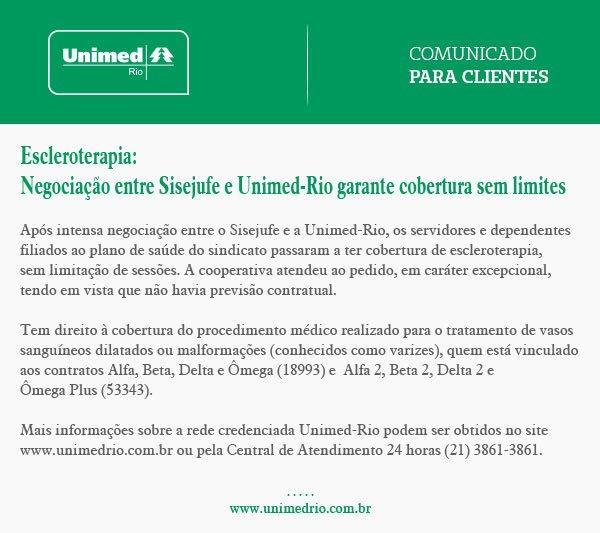 Escleroterapia: Negociação entre Sisejufe e Unimed-Rio garante cobertura sem limites