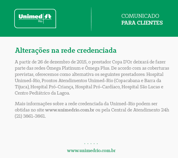 Comunicado Unimed-RJ
