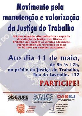 Entidades promovem ato em defesa da Justiça do Trabalho na próxima quarta-feira