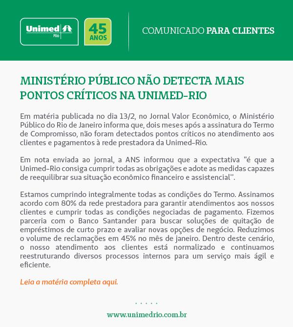 Ministério Público não detecta mais prontos críticos na Unimed-Rio