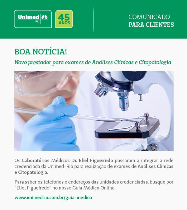 Novo prestador para exames de Análises Clínicas e Citopatologia