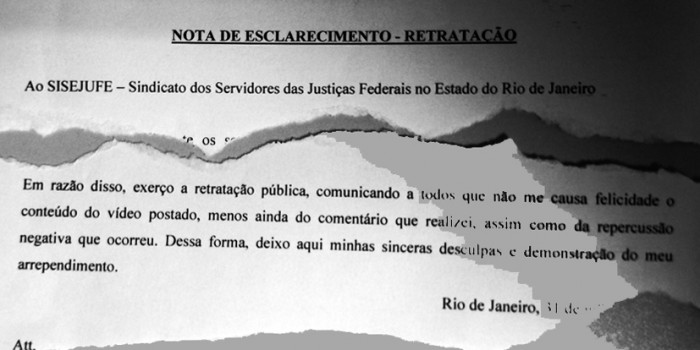 """""""NOTA DE ESCLARECIMENTO – RETRATAÇÃO"""" acerca do caso da agressão de servidor do TRT1"""