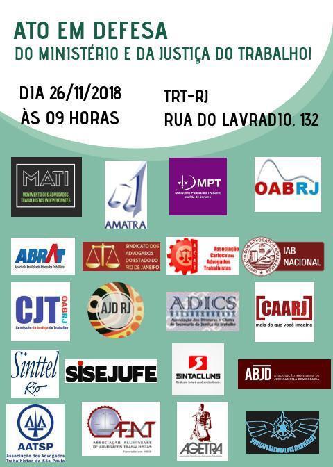 SISEJUFE PARTICIPA de ato em defesa da Justiça Trabalhista e contra a extinção do Ministério do Trabalho no dia 26 de novembro