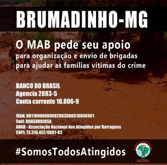 SISEJUFE SOLIDÁRIO: MAB faz campanha de arrecadação para enviar brigadas de apoio a Brumadinho