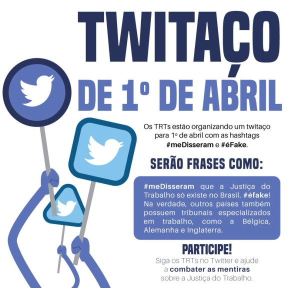 Campanha combaterá fakes news contra Justiça do Trabalho. Participe do Twitaço no dia 1º de abril