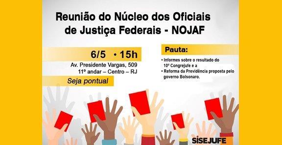 Nojaf convoca reunião para o dia 6 de maio no Sisejufe