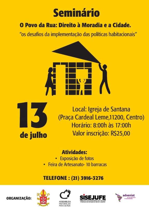 Sisejufe convida para seminário sobre Direito à Moradia para população de Rua, no próximo sábado (13/7)