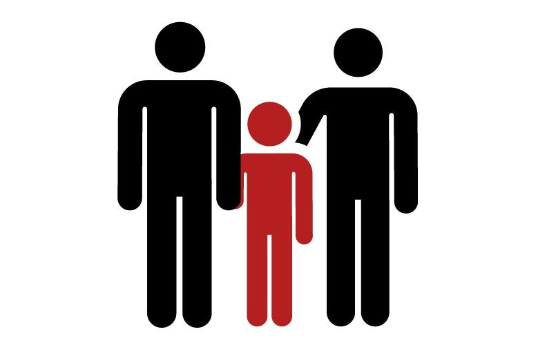 Pictograma de um casal homoafetivo com uma criança