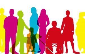 #ParaTodosVerem #ParaTodesVerem #PraCegoVer Imagem mostra desenhos sombreados de pessoas com deficiência, cada um de uma cor (rosa, verde, azul, amarelo, vermelho e laranja). Há também uma criança e um cão guia.