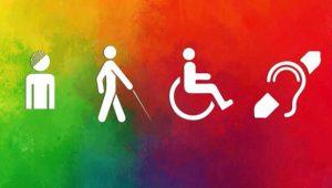 #ParaTodosVerem #ParaTodesVerem #PraCegoVer Imagem com fundo colorido mostra desenhos de pessoas com deficiência